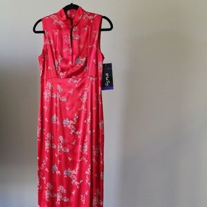 All That Jazz Red Satin Asian Inspired Dress- NWT